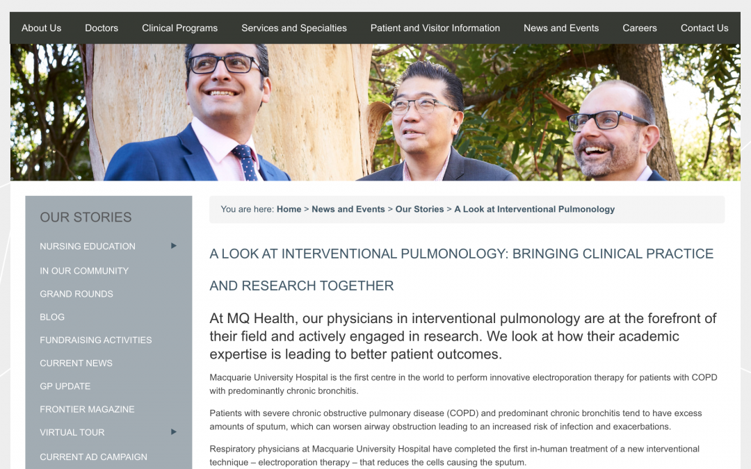 Featured Story: A look at Interventional Pulmonology: bringing clinical practice and research together